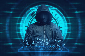 Hooded man with mask typing on keyboard virtual