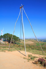 Local Tribal D.I.Y swing chair on the mountain