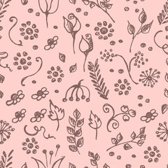 Seamless vector pattern, hand drawn background with flowers, branch, leaves, dots. Hand sketch drawing. Doodle funny style. Series of Hand Drawn seamless childish Patterns.