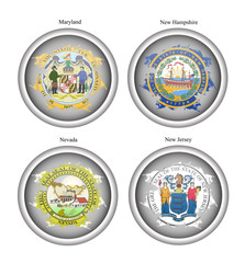 Set of icons. States of USA seals. Vector.