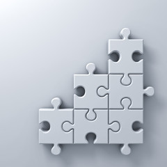 White jigsaw puzzle pieces concept on white wall background with shadow and blank space 3D rendering