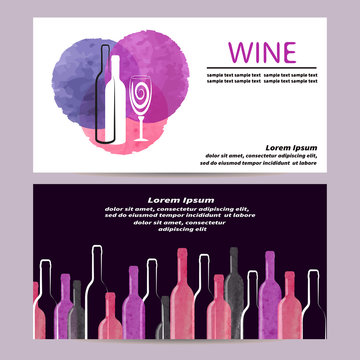Watercolor Wine business card design. Banners, posters or flyers with wine theme. Vector illustration.