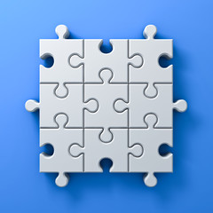 3d white jigsaw puzzle pieces concept on blue wall background with shadow 3D rendering