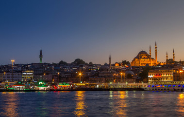 Turkey, Istambul - april 2016, view from the Galata Bridge on the Sulaymaniyah mosque