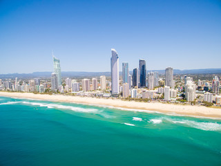 An aerial view of Surfers Paradise in Queensland's Gold Coast in Australia