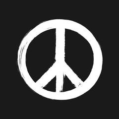 Peace sign painted brush. White hippie logo isolated on black background.