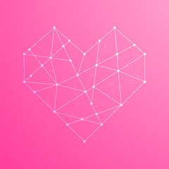 Heart shape icon illustration white color, dot outline stroke design isolated on pink gradients background