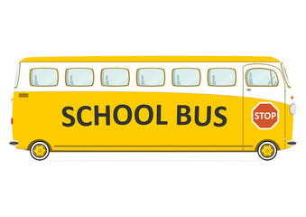 Funny retro school bus. Side view. Flat vector.