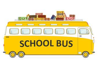 Funny retro school bus. Side view. Flat vector.