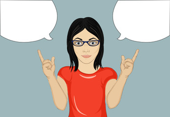 Happy woman with glasses a new idea  and gestures index finger up