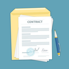 Signed a contract with stamp, envelope, pen. The form of document. Financial agreement concept. Top view. Vector illustration.