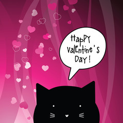 Valentine's card with copy space. Cat character. Template.