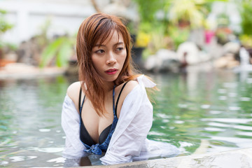 Asian Woman In Hotel Swimming Pool Relaxing Vacation Travel, Young Girl Enjoying Spa Exotic Paradise Resort