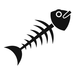 Fish bone icon, simple style