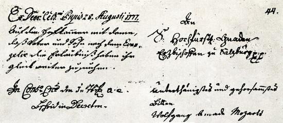 Mozart's resignation to Prince-Archbishop Hieronymus Colloredo, 1 August 1777