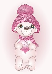 Pink be my valentine card with white Teddy Bear in a red knitted winter hat and a scarf with a heart shaped cardboard box in his hands, a Valentine's day shirt or a postcard print