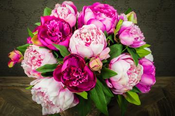 Peony bouquet in vase.