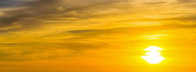 shining sun at sunset