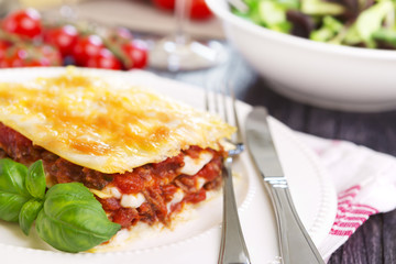 Portion of homemade lasagna on a plate