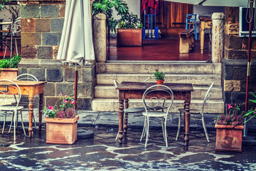 Rustic table and chairs in Tuscany