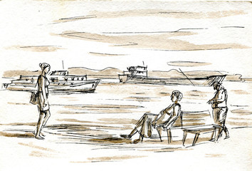 People on the beach sketch