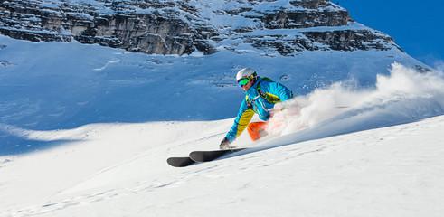 Garden Poster Winter sports Freeride in fresh powder snow.