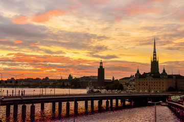 View of Stockholm city during sunset, Sweden