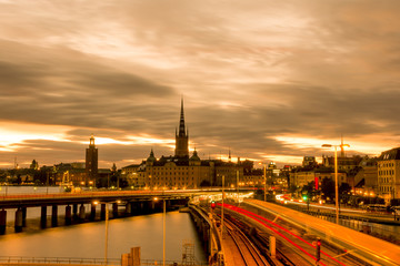 Wall Mural - View of Stockholm city skyline during sunset, Sweden.