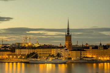 Wall Mural - View of Stockholm skyline during sunset time, Sweden