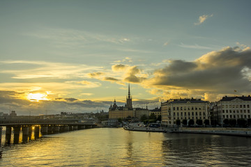 Wall Mural - Stockholm cityscape during sunset time, Sweden.