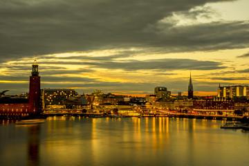 Wall Mural - Beautiful landscape of Stockholm during sunset, Sweden.