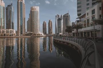 Dubai Marina at sunrise, United Arab Emirates.