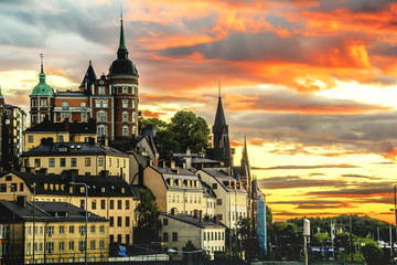 Wall Mural - Stockholm cityscape during sunset.
