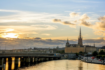 Wall Mural - View of Stockholm cityscape during sunset time, Sweden.