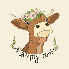 Vector Happy cow with flowers on the head for icons, stickers, for package design