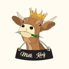 """Vector cow """"Milk king"""" with crown on the head for icons, stickers, cards, for package design"""