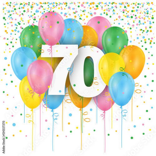 HAPPY 70th BIRTHDAY ANNIVERSARY Card With Bunch Of Multicoloured Balloons