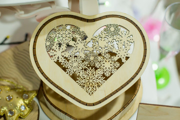 Wooden casket in the form of heart. Handmade. Wood products. Piece of furniture, decorative items