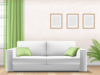 Modern light interior with sofa, window and picture frame on wall. Vector realistic illustration.