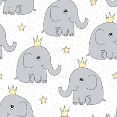 seamless elephant princess pattern vector illustration