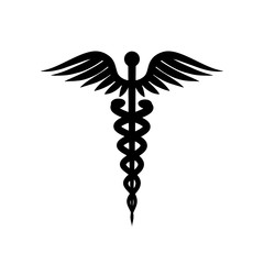 Medical symbol. Isolated on white background. Vector silhouette