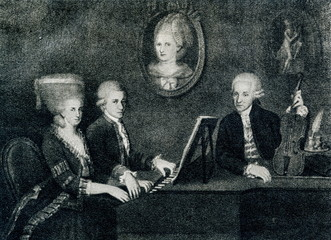 "The Mozart family portrait: Maria Anna (""Nannerl"") Mozart, her brother Wolfgang, their mother Anna Maria (medallion) and father, Leopold Mozart (Johann Nepomuk della Croce, ca. 1780)"