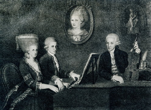 """The Mozart family portrait: Maria Anna (""""Nannerl"""") Mozart, her brother Wolfgang, their mother Anna Maria (medallion) and father, Leopold Mozart (Johann Nepomuk della Croce, ca. 1780)"""