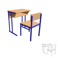 School desk.Isolated on white. 3d Vector illustration.