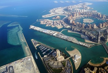 Aerial view of the The Pearl Qatar, a new neighborhood in Doha built on an artificial island