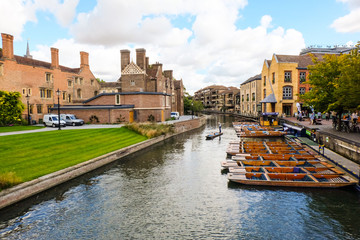 Cambridge river with punting boat,Cambridgeshire,England