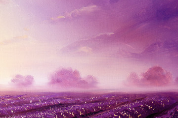 magical lavender fields at dawn, oil painting on canvas.