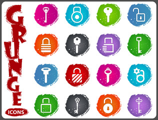 Lock and Key icons set