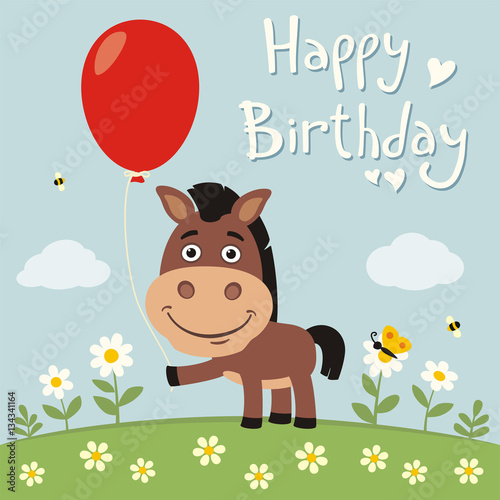 Happy Birthday Funny Horse With Red Balloon On Flower Meadow