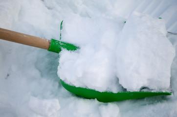 snow on the shovel
